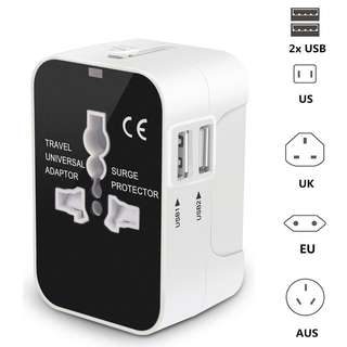 Universal Travel Adapter - All-In-One Worldwide Travel Adapter Plugs AC Wall Outlet Power Charger With Dual USB Charging Ports For USA EU UK AUS Cell Phone Laptop
