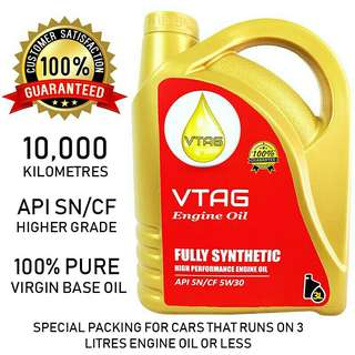 VTAG Fully Synthetic SAE 5W30 Engine Oil - 3 Litres