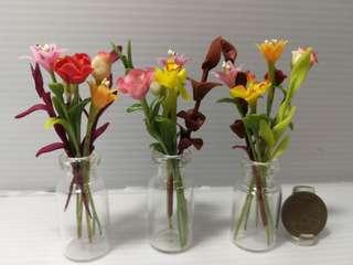 Dollhouse Miniature Assorted flowers in glass bottle