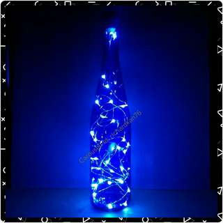 Deep Blue Tall Glass Bottle with Pure White Fairy Lights