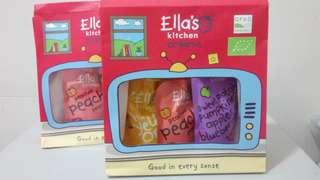 【全新*100%正品】英國名牌 Ella's Kitchen 有機嬰兒食品禮盒套裝 健康營養補充品 主餐小吃零食 Organic Baby Food Fruit Smoothie Package Gift set 雜果蓉 1x蕃薯南瓜蘋果藍莓 1x桃 1x香蕉蘋果芒果杏