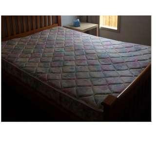 Queen size timber wooden bed frame & mattress