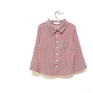 🚚 絕不撞衫 紅白直條紋寬寬袖子襯衫 袖子設計超級美