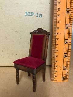 Miniature wood tall chair with velvet seat