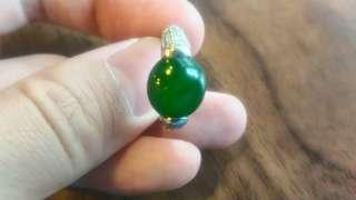 🚚 全綠翡翠A級鑲嵌戒指