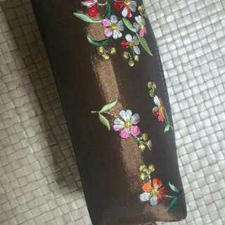 Floral Embroidery Pencil Case