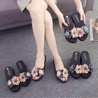 🚚 韓版時尚百搭女鞋厚底鞋休閒拖鞋涼鞋海灘鞋平底鞋