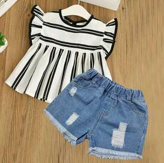 🍀Girl Sleeveless Top+Denim Shorts 2pcs Set🍀