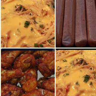 Pasta carbonara,Halal Food 🍲 with chicken n sausages, minimum orders 30pax Self Collections At Woodland St 82 👍
