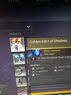 DOTA 2018 immortal GOLDEN EDICT OF SHADOWS