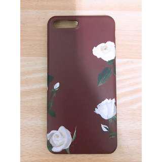 🚚 IPhone 7 Plus 紅底白玫瑰手機殼(軟殼)