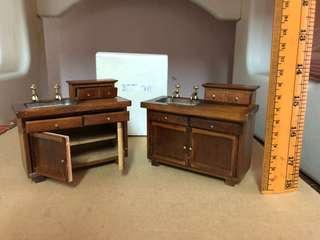 Miniature wood kitchen sink unit (opening)