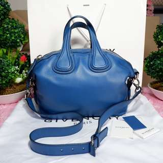 Authentic Givenchy Nightingale (new version) Small  Blue Goatskin