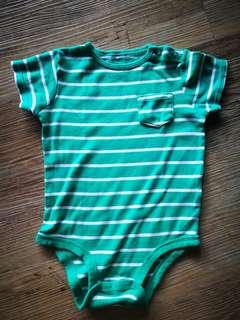 Carter's Unisex Green & White Stripe Baby Romper