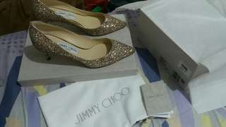 Jimmy Choo Romy 60 Glitter Gold/Ballet Pink wedding shoes (38 結婚鞋)