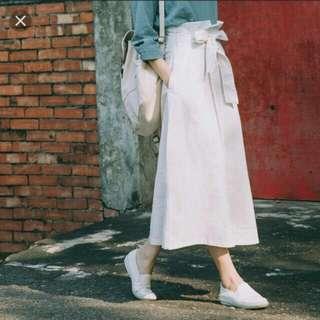 白色綁帶長裙