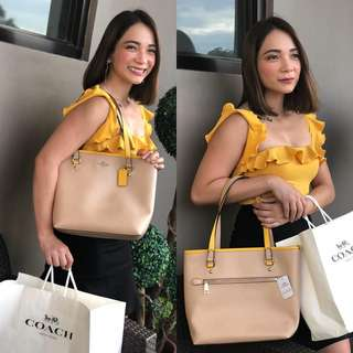 Authentic Coach Leather Tote Bag/Yellow trims