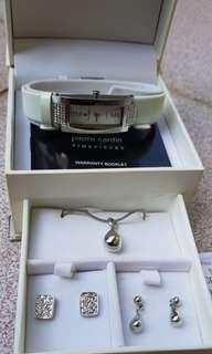 Jam Tangan Putih Set Kalung Anting (Pierre Cardin)
