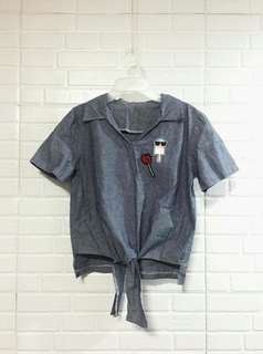Denim Crop Top with Patches