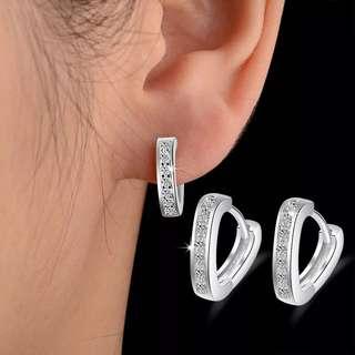 [3 for $10] X318 - Minimalist heart shape earrings