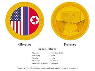 Trump Kim summit medallion coin 2nd issue GOLD
