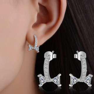 [3 for $10] X347 - Shinny ribbon shaped earrings