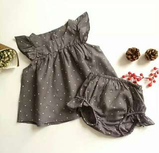 🍀Baby Girl Sleeveless Polka Dots Top+Shorts 2pcs Set🍀