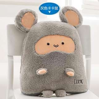 [PO] Grey mouse 2 in 1 cushion pillow