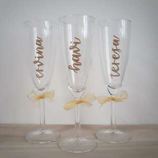 Personalised Champagne Glass Wine Glass Customised Names Name Wedding Gift Birthday Present Birthday Party Anniversary Gift Calligraphy Emboss Teachers' Day Corporate Gift Graduation Gift Bridesmaids Gift Bridesmaid Farewell Gift Couple Gift