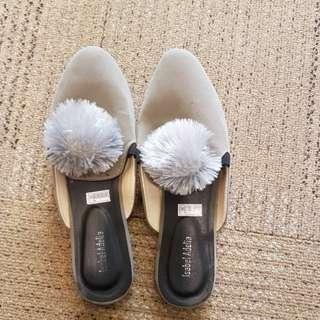 Pompom shoes selop sandal abu grey gray
