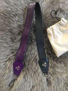 2 sided - Purple croco x snakeskin bag strap & black lamb skin bag strap