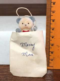Miniature bear in paper bag (for display with miniature furniture or doll house)