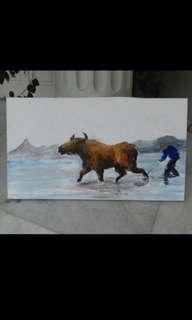 Lukisan printing kerbau 40 x 70