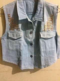 Studded Jeans Vest