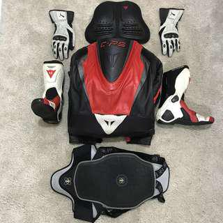 Dainese Racing Suit + Dainese Racing Boot + Dainese chest protection + Dainese by puma glove + Forcefield Back protection