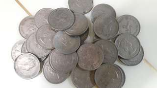 1960年至1975年香港大一元,十元1個