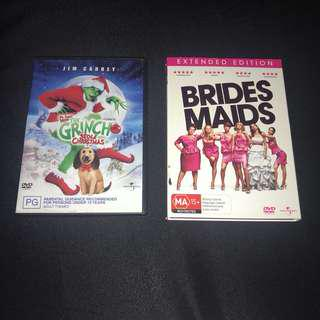 DVDS- Brides maids extended edition & How the grinch stole Christmas