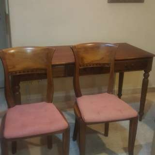 Solid timber Writing table with chairs