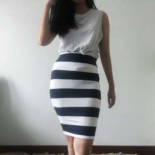 ZARA STRIPES PENCIL SKIRT