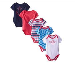 🚚 *9M* Brand New Nautica 5-Pack Short Sleeve Bodysuits For Baby Girl #CarouPay