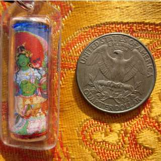 🚚 TIBETAN BUDDHIST BELOVED GREEN TARA w/ MANTRAS TUBE PENDANT AMULET