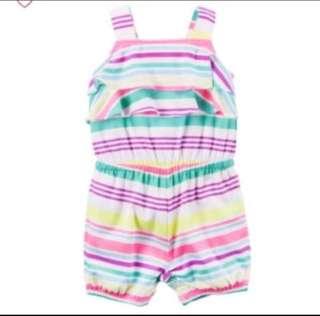 🚚 *12M* BN Carter's Striped Romper For Baby Girl