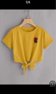 玫瑰刺繡下擺綁帶t-shirt