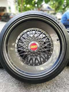 Bbs performance line 17 inch sports rim mini cooper tyre 90%