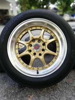 Ce28n 15 inch sports rim myvi tyre 70%
