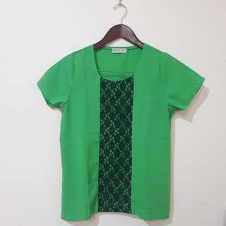 Green Brocade Top