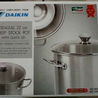 Seagull Stainless Steel Deep Stock Pot 22cm with Glass Lid