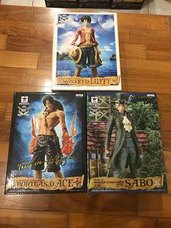 One Piece Banpresto Master Stars Piece MSP 3 Brothers Luffy Ace Sabo Set of 3 Figures