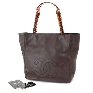 Vintage Chanel深啡色魚子醬玳瑁Tote bag 26x25x11cm