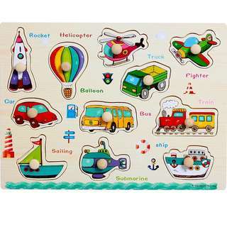 (Puzzle4) Wooden Transportation Peg Board Knob Educational Alphabets Numbers Animals Puzzles